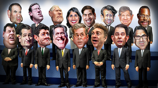 Photo Credited to DonkeyHotey: 16 Possible Republican Contenders for 2016 - Caricatures, https://www.flickr.com/photos/donkeyhotey/15364456093